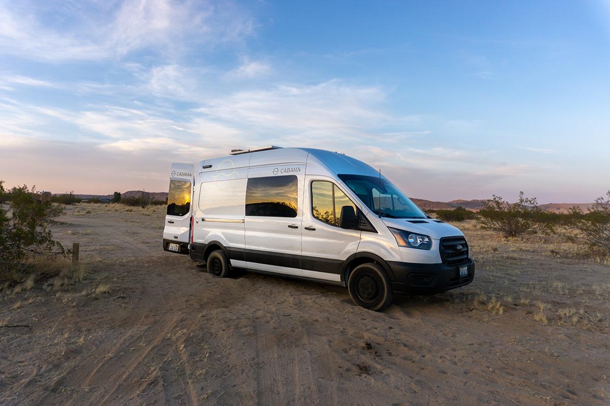 vanlife rental van at joshua tree california desert