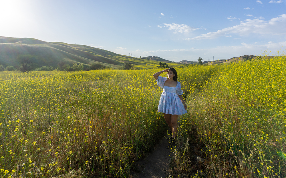 woman at yellow field of flowers chino hills state park california