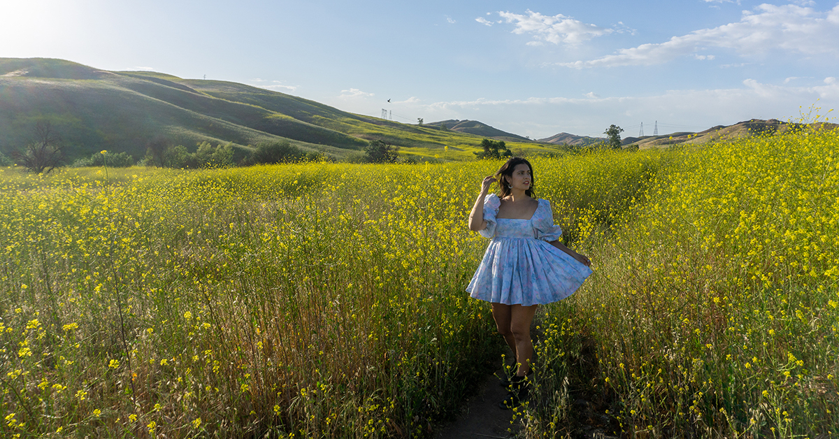 woman at yellow flowers field in california chino hills