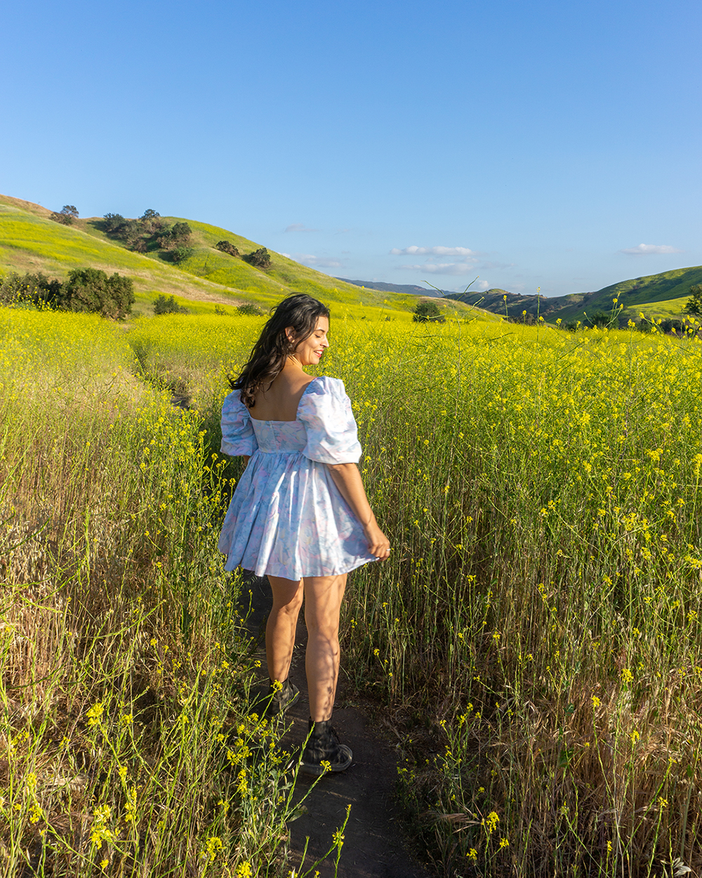 woman with yellow flowers in chino hills