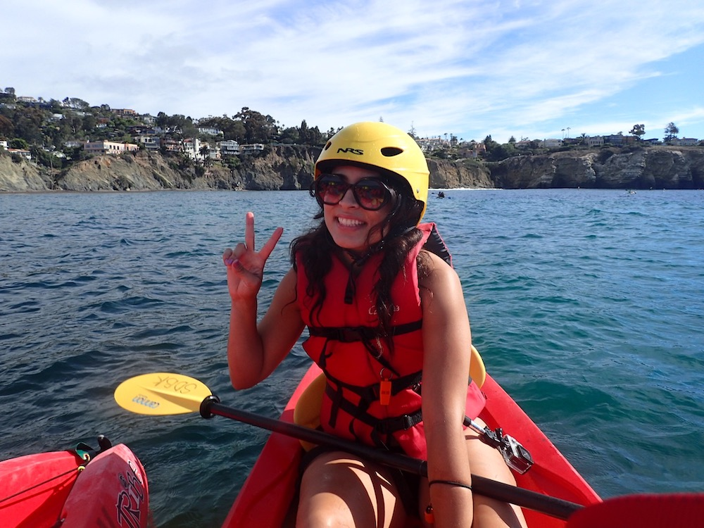 woman kayaking at la jolla