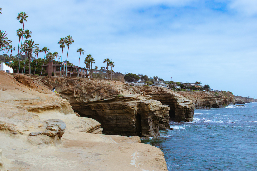view of cliffside at sunset cliffs in san diego california