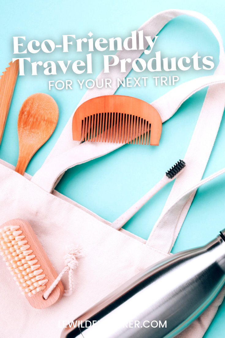 bamboo utensils, tote bag, water bottle, bamboo toothbrush, loofa eco friendly travel products