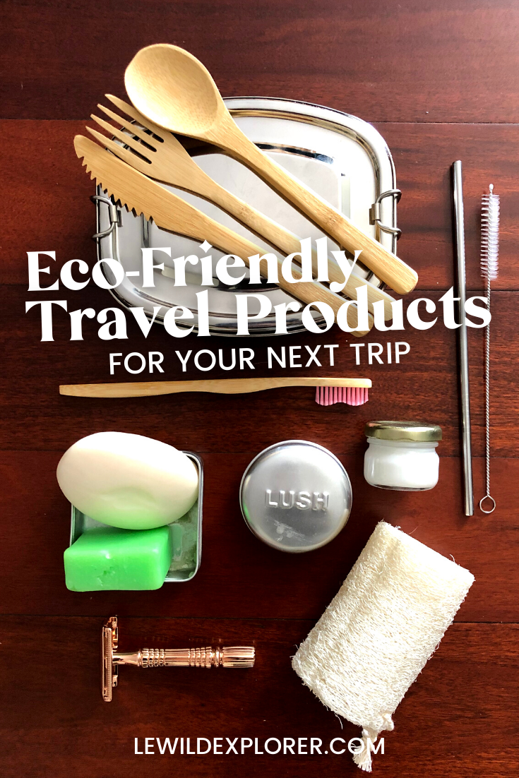 bamboo utensils, metal straw and straw pipe cleaner, bar soaps, bamboo toothbrush, loofa eco friendly travel products