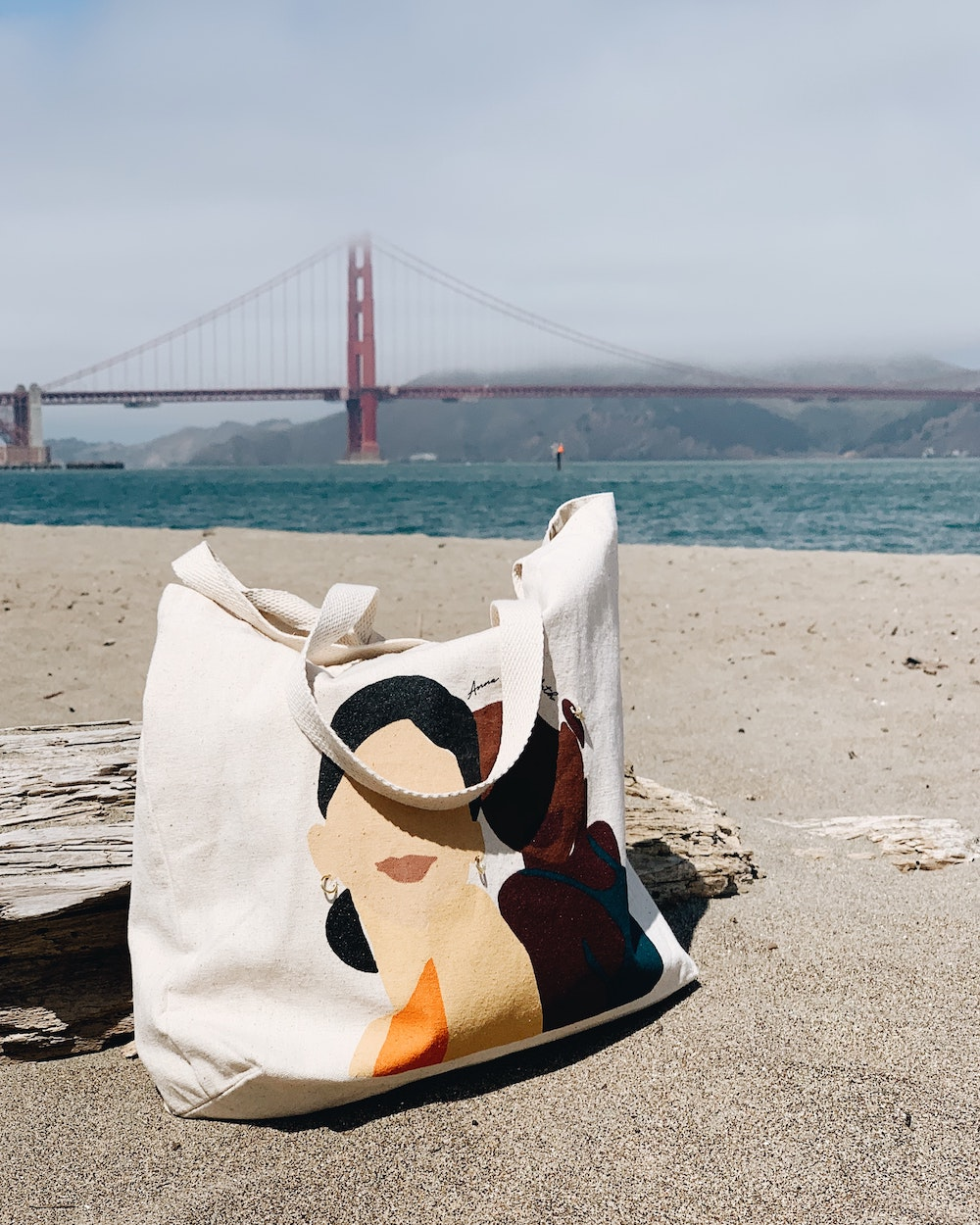 reusable tote bag for travel at golden gate bridge in san francisco