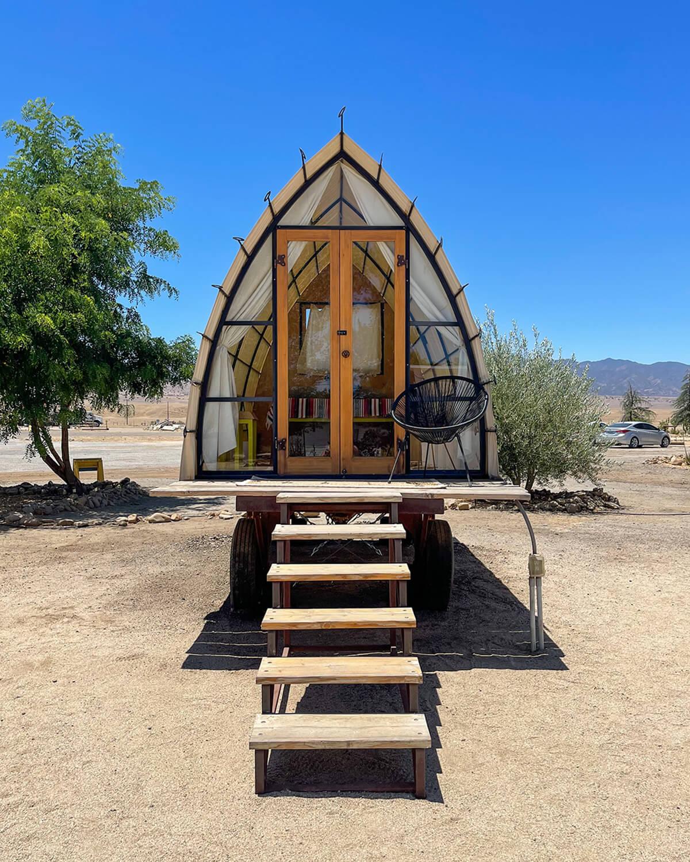 micro cabin hut at blue sky center in new cuyama california