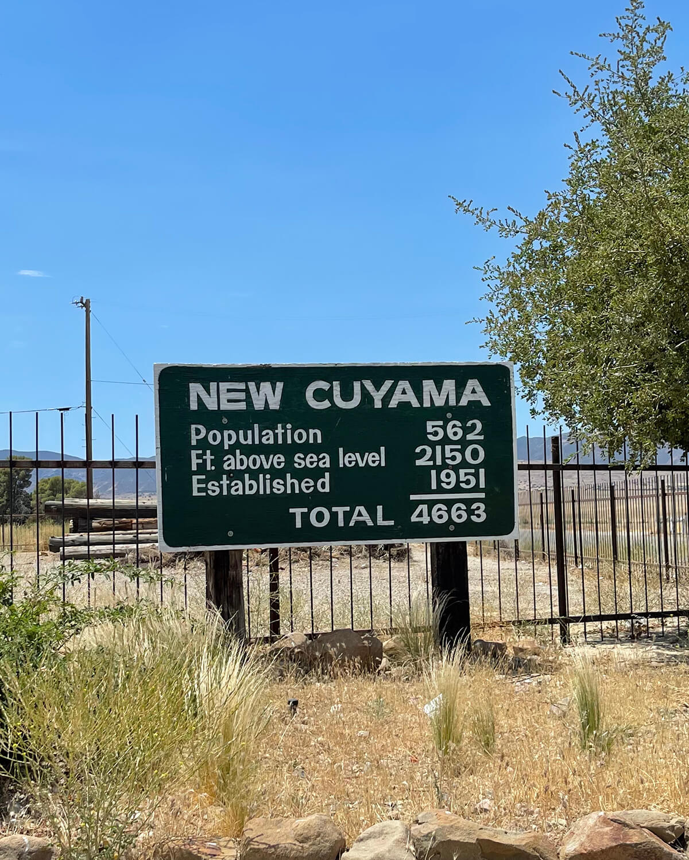 new cuyama california population sign
