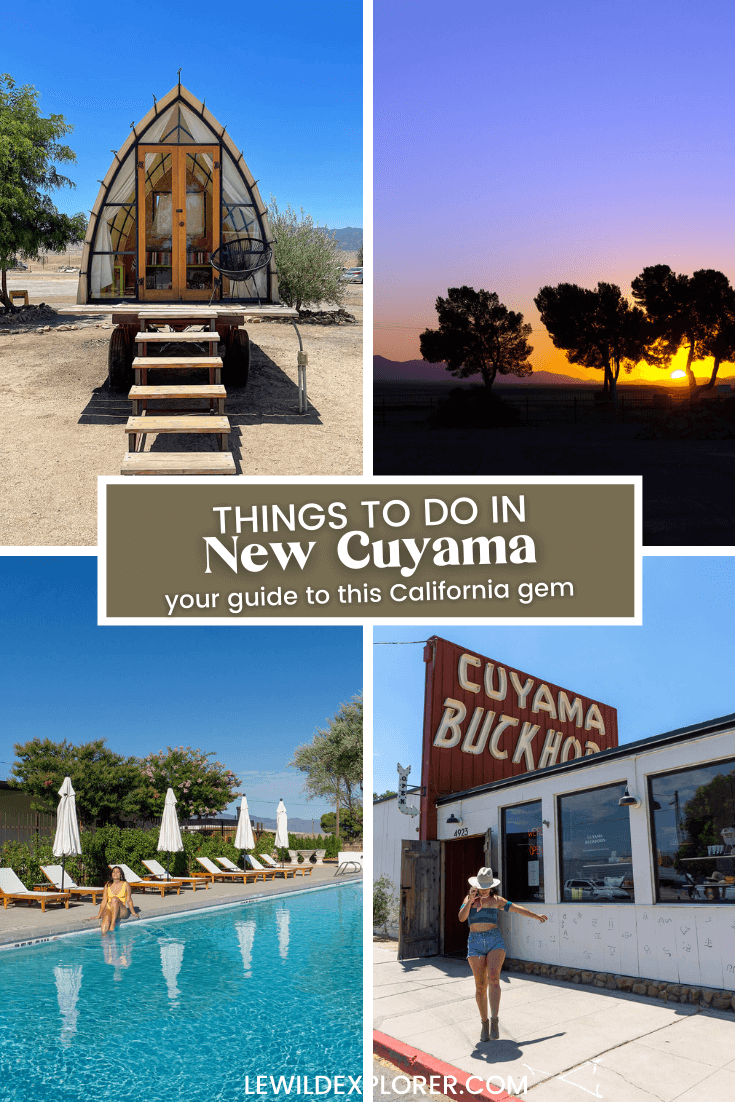 four photos with a micro cabin hut, colorful sunset, woman at pool, and woman in western hat