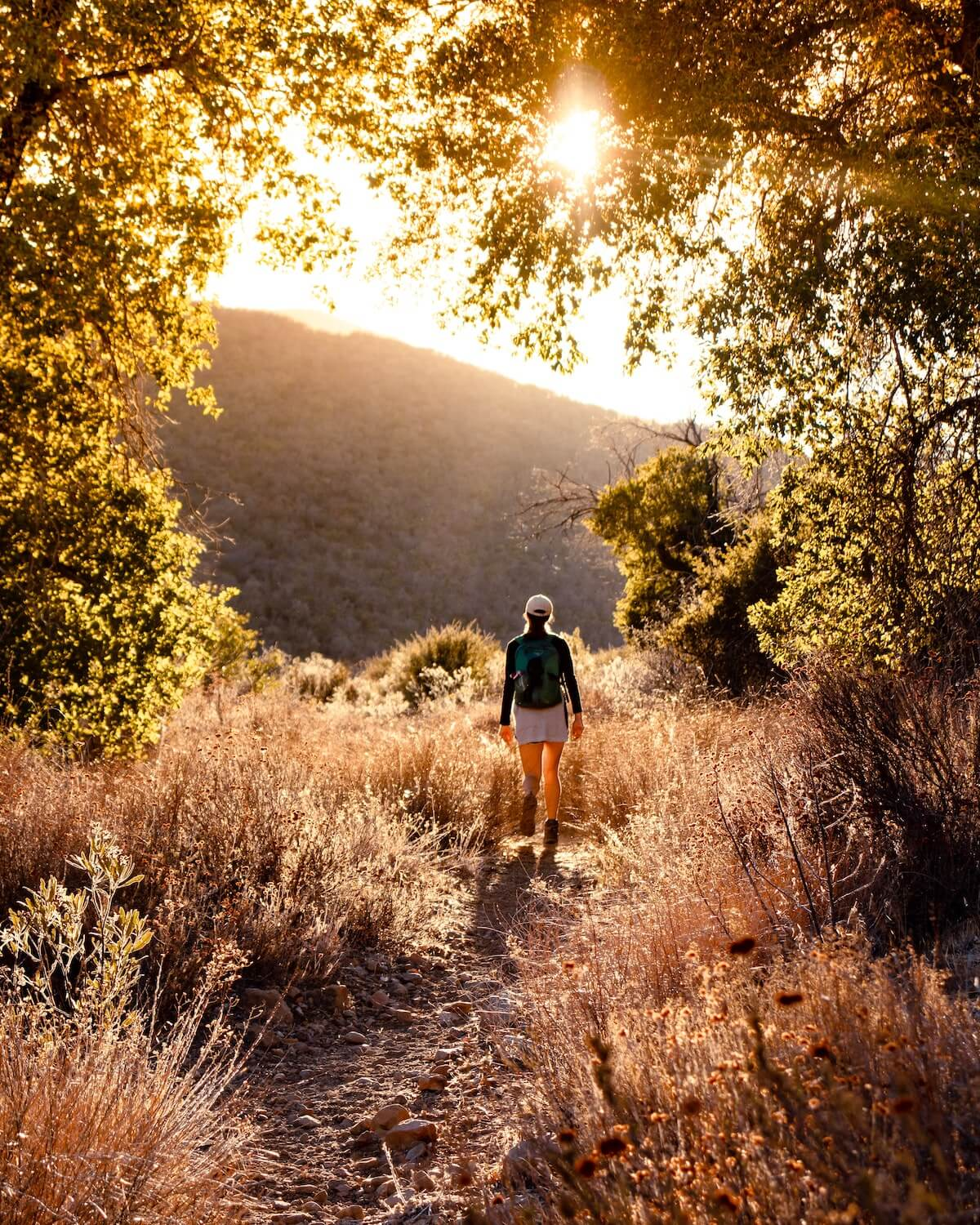 woman hiking at los padres national forest