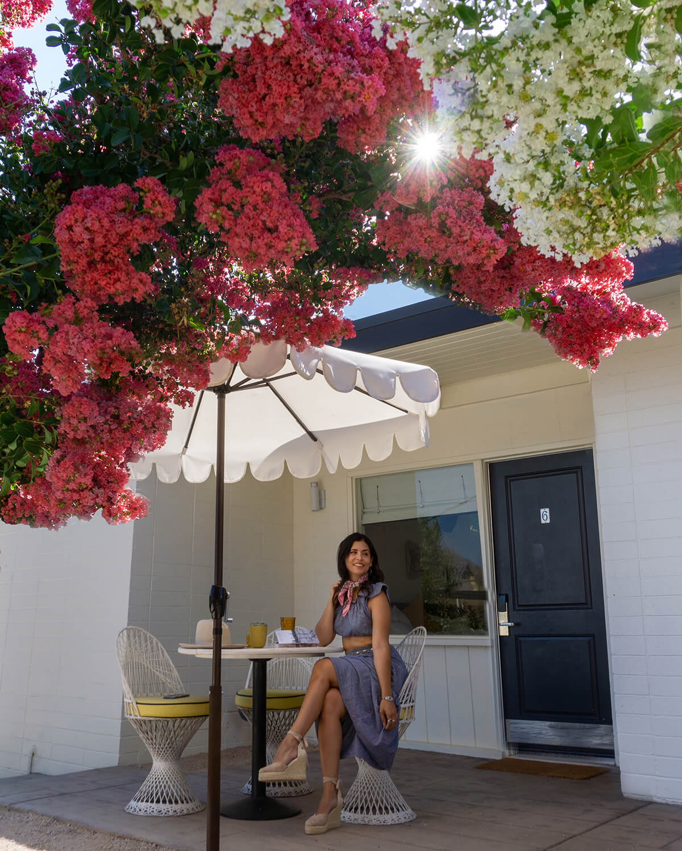 woman sitting on patio at cuyama buckhorn california